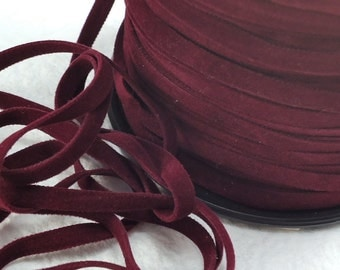 6yds Faux Suede leather Micro Fiber Red Jewelry Cord Maroon Lacing 4mm  x  .5mm flat velvet ribbon cord