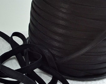 5yds Black Elastic Satin band Shiny 1/4 inch - 6mm - Black Elastic Headbands Bra Strap lingerie Trim