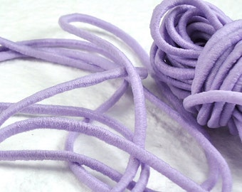 5yds Elastic Thin Bands 2mm - Elastic Cords String Headbands Wristbands Light Putple