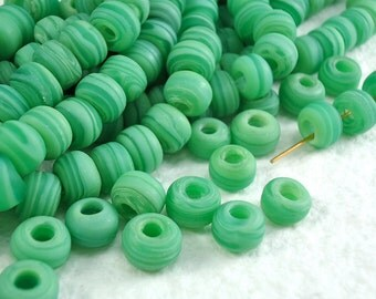 20 Glass Beads Matte 9mm Vintage Czech Pony Trade Green Tribal large hole beads tribal boho