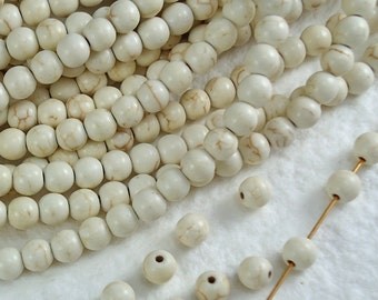 25 Stone Beads Real Howlite Ivory Bone color 6mm Round with Dark Brown Veins Natural Beads