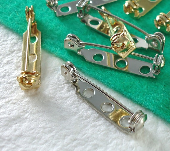 12 Bar Pin Backs 1 inch 27mm Gold and Nickel silver plated Jewelry Supplies