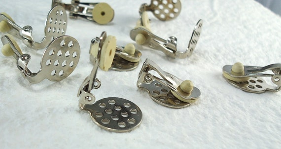 Earring Clip on 15mm pad with Multi Holes Round Disc Pad Findings