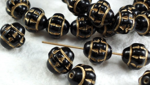 15 Vintage Czech Glass Beads Black 10mm Round with gold accents