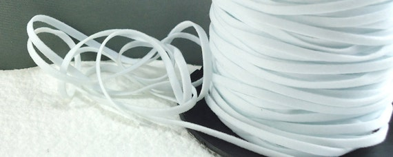 6yds total Faux Suede leather Micro Fiber Jewelry Cord White Lace 3mm x 1/2mm flat cord