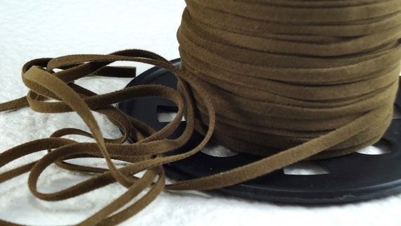 6yds Faux Suede leather Micro Fiber Cord Brown Lace 3mm x 1/2mm Flat thin jewelry cord