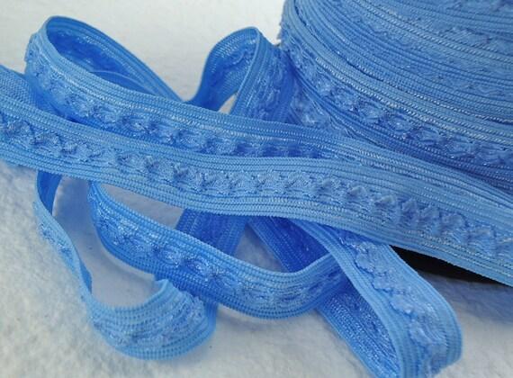 5yds Elastic Trim Fold Over HeadBands Ponytail 1/2 inch 13mm FOE Blue Stretch Trim