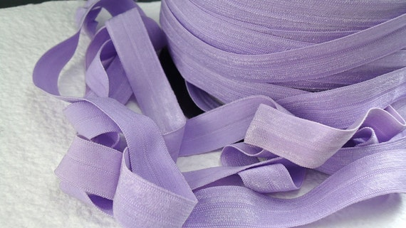 5yds Purple Elastic Fold Over Ribbon Trim for HeadBands diapers hair ties  sewing projects 5/8 inch 15mm FOE  Stretch Trim