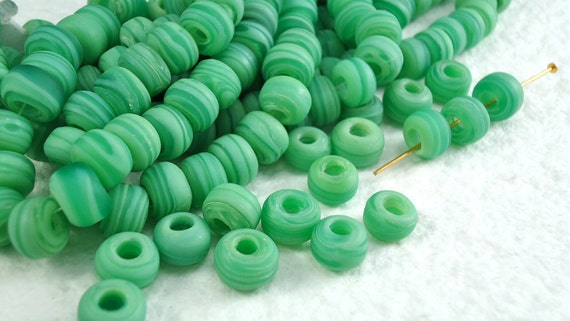20 Glass Beads Matte 9mm Vintage Czech Pony Trade Green Tribal large hole beads