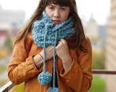 Blue Chunky Cowl with POM POMS in Icicle SALE only one left