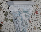 Hollywood regency refurbished vintage angel wall shelf corbel