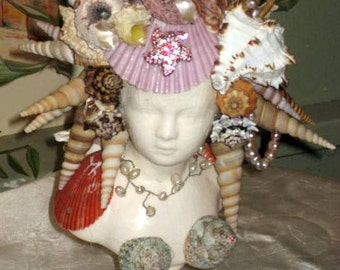 Sea shell maiden ceramic bust
