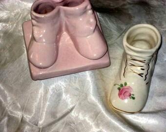 vintage ceramic baby shoes planters,vases