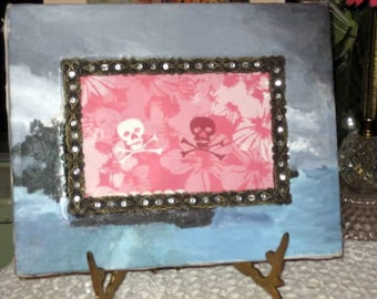 Boho rhinstone frame inserted in canvas oil picture