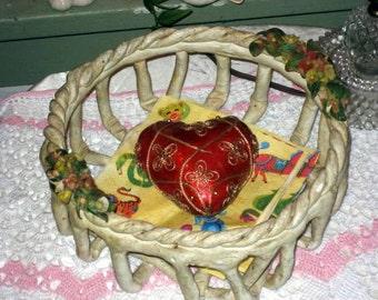 vintage basket handmade with flowers