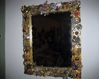 Christmas Handmade vintage mirror with Christmas jewels and more on SALE