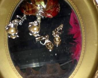 Vintage valentine rhinestone dangle screw on earrings