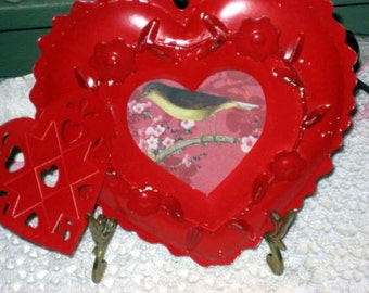 Vintage tole valentine red heart shaped picture frame