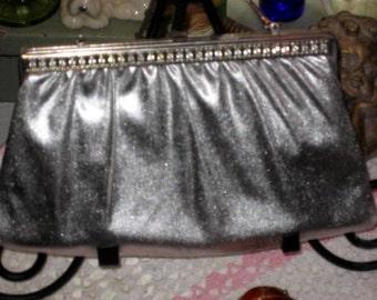 Vintage silver and rhinestone disco purse
