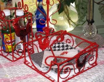 Red tole alfresco napkin holder, bottle holder,and candle holder