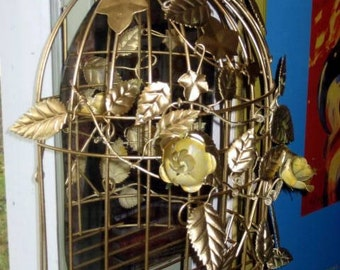 Hollywood regency Chinoiserie vintage revamp tole bird cage mirror shelf