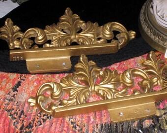 Hollywood regency vintage gold cast iron brackets