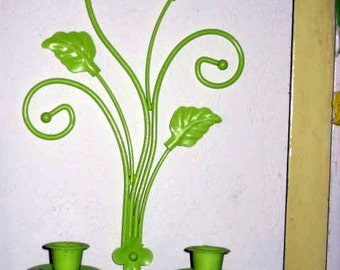 Two Hollywood regency vintage SCROLLY lime green tole candelabras