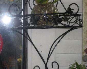 vintage refurbished metal tole shelf or basket