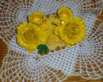 Vintage porcelain Avon candle holders repainted sun shine yellow
