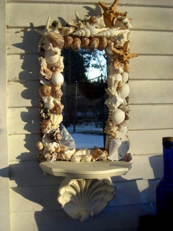 handmade shell mirror with shelf