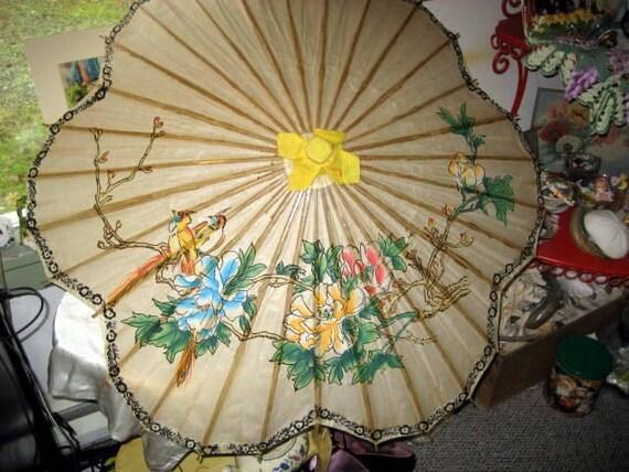 vintage Asian Chinoiserie paper umbrella
