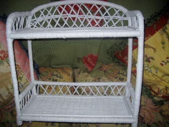 Shabby white wicker shelf