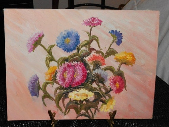 Painting of a bouquet of  Bachelor buttons flowers