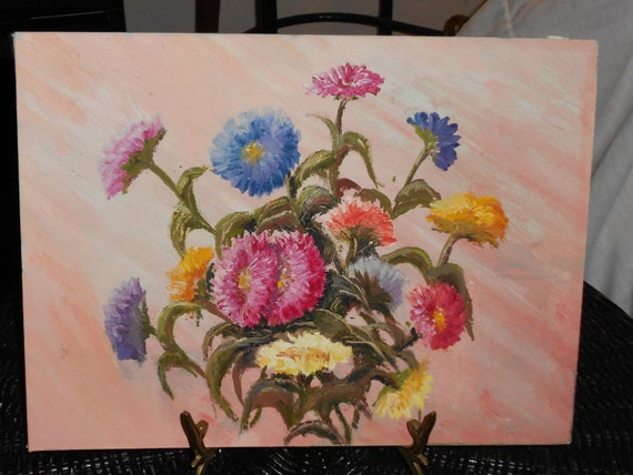 Boho painting of a bouquet of  Bachelor buttons flowers