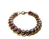 Gold Chunky Chain with Pink Accent Color Rhinestone Layering Bracelet