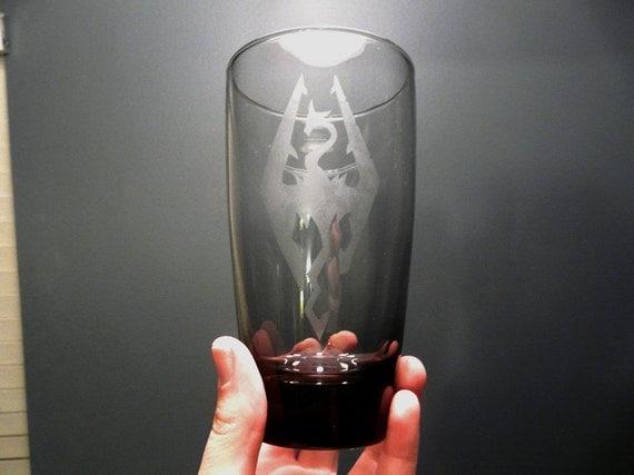 Skyrim Etched Smokey Grey Glass Cup Tumbler