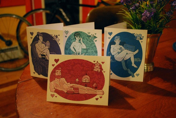 Sexy Pin-Up Boy Valentine's Day Cards