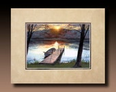 8x10 Double Matted Boat Dock