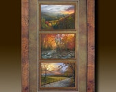 Framed Smoky Mountain Prints with Fillet & shadow boxed Mats burl frame