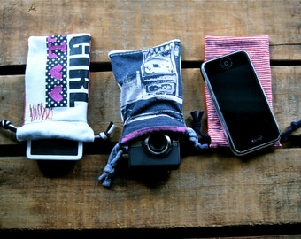 three upcycled ipod/cell phone pouches, iphone pouch, cosmetic bag, cotton drawstring bag