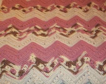 Rose,Off WT,Varigated Handmade Afghan 67x85 Ripple
