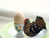 COFFEE HEN, Textile Original Ornament, Kitchen Decoration, Quilted Folk Art Brown