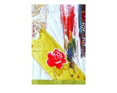 Fiber art card - Rose I