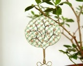 Embroidered quilted tree ornament - cherry blossom