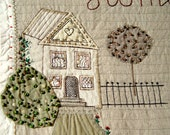 HOME SWEET HOME, Art Quilt, Textile Wallhanging, Home Decor, Hand Embroidery, Rustic Cottage, Beaded Applique, Made in Poland, Folk Art