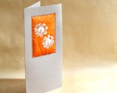 FLOWERS ORANGE GREY, Textile Art, Art Card, Handcrafted Unique, Mixed Media