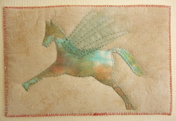 Pegasus Horse, Textile Postcard, Fiber Art, neutral tan, gift idea, home decor