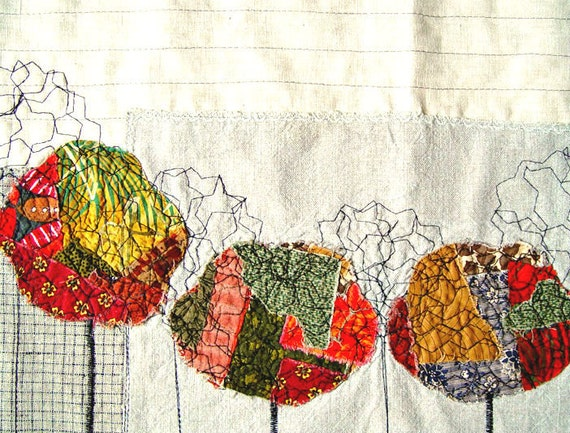 Autumn Trees, Rustic Home Decor, Appliqued Curtain