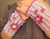 Japanese anemones -handmade crocheted lace mittens wrist cuffs