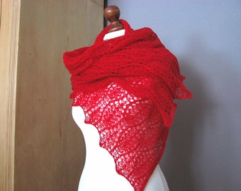 Red  Raspberry  hand knitted lace scarf